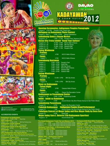 official poster of kadayawan festival 2012 with event schedules