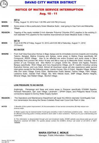 water interruption august 10-11-2012