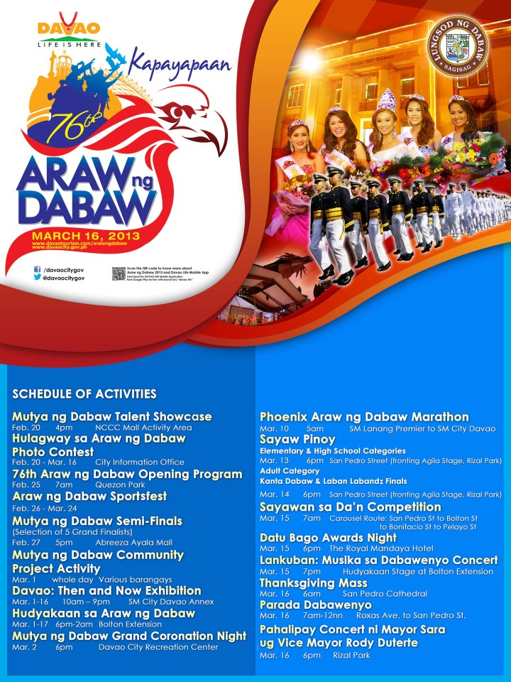 Araw ng Dabaw 2013 schedules of events
