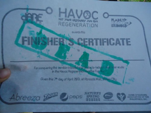 death certificate at the havoc fun run