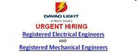 Urgent Hiring @ Davao Light Company: Registered Electrical Engineers; Registered Mechanical Engineers