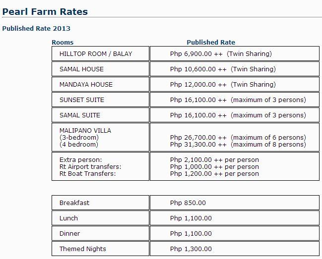 pearl farm beach resort room rates