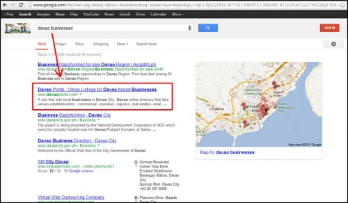 "Davao Portal on Google's SERPs for the keywords ""davao businesses""."