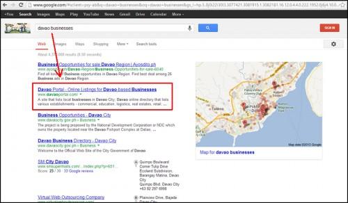 "Davao Portal on Google's SERPs for the keywords ""davao businesses""."