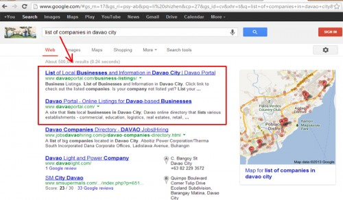 "Davao Portal on Google's SERPs for the Keywords ""list of companies in davao city"""