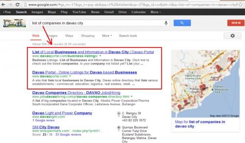 "Davao Portal on Google's SERPs for the Keywords ""list of companies in davao city"""