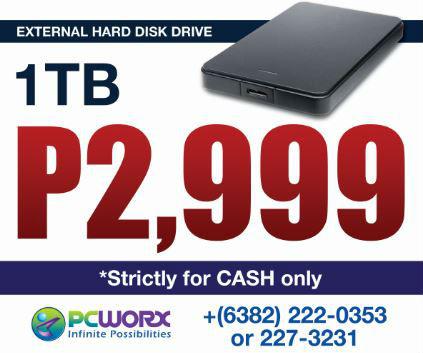 P2,999 for 1TB Toshiba, Apacer, Hitachi Touro, or Transcend External Hard Disk